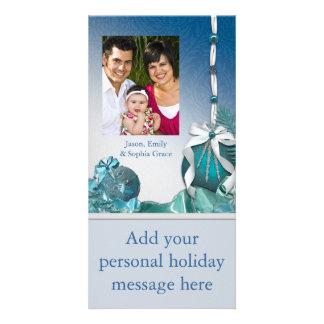 El blanco azul adorna tarjetas de Navidad de la fo Tarjetas Personales Con Fotos
