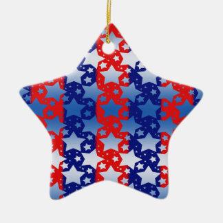 El blanco azul protagoniza rayas azules rojas adorno de cerámica en forma de estrella