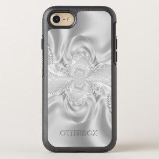 El blanco de plata del damasco del satén gotea la funda OtterBox symmetry para iPhone 8/7