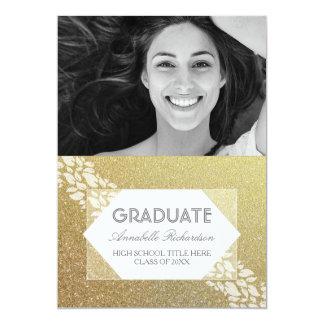 El blanco del brillo del oro deja la graduación de invitación 12,7 x 17,8 cm