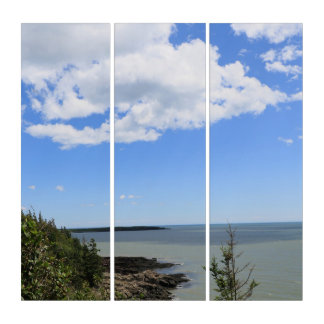 El blanco del cielo azul se nubla arte de acrílico