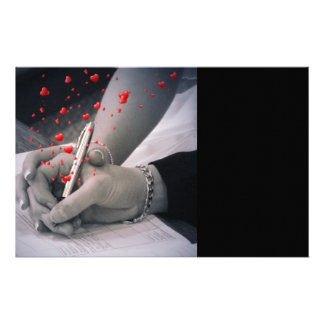 el blanco elegante del negro de los corazones da e papelería personalizada