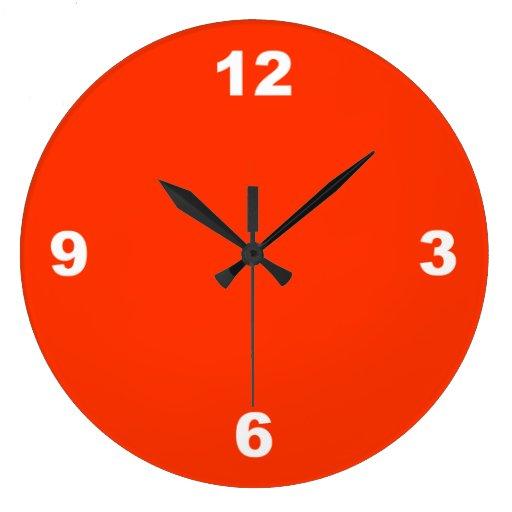 El blanco grande rojo numera el reloj de pared zazzle - Relojes grandes pared ...
