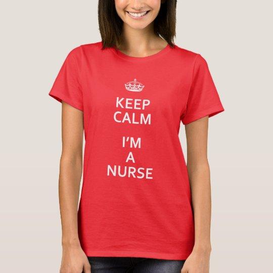 El blanco guarda calma que soy enfermera camiseta