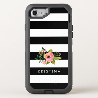 El blanco negro clásico raya nombre floral funda OtterBox defender para iPhone 7
