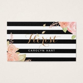 El blanco negro de moda raya la tarjeta de visita