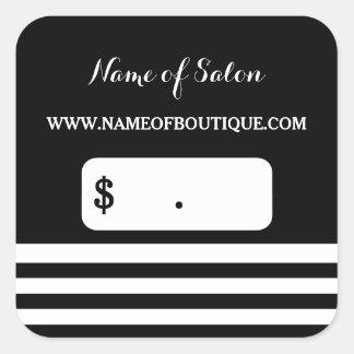 El blanco negro de moda raya precios del salón de pegatina cuadrada
