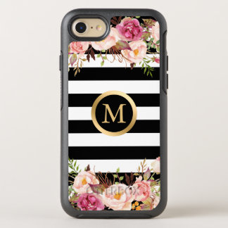 El blanco negro floral femenino raya nombre funda OtterBox symmetry para iPhone 7