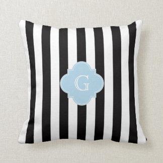 El blanco negro raya el monograma azul claro de cojín decorativo