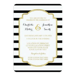 El blanco negro raya invitaciones del boda del oro invitación 12,7 x 17,8 cm