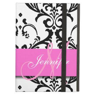 El blanco negro rosado con monograma remolina dama