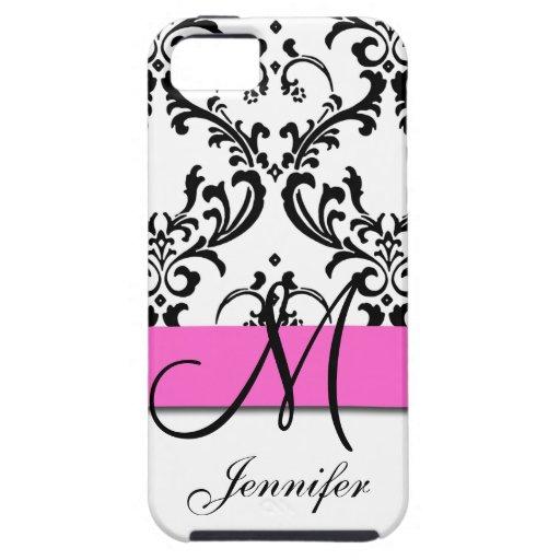 El blanco negro rosado con monograma remolina dama iPhone 5 funda