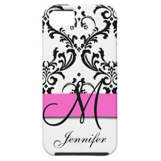 El blanco negro rosado con monograma remolina funda para iPhone SE/5/5s