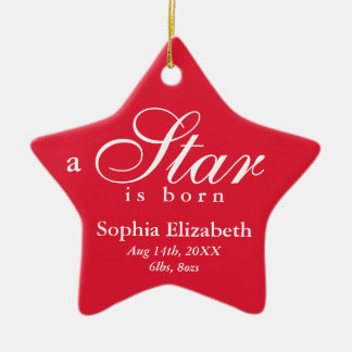 El blanco rojo una estrella es invitación nacida adorno navideño de cerámica en forma de estrella