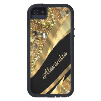 El bling elegante elegante del negro y del oro funda iPhone SE/5/5s