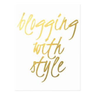 El Blogging con el estilo - escritura del oro Postal