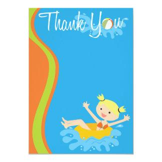 El Blonde de la fiesta en la piscina le agradece Invitación 12,7 X 17,8 Cm