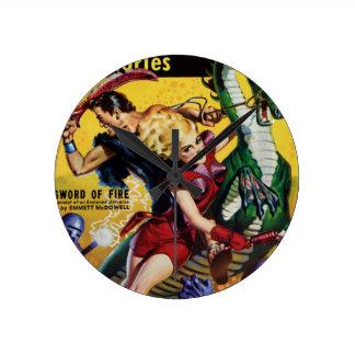 El Blonde heroico monta un dinosaurio Reloj Redondo Mediano