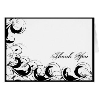 El boda afiligranado blanco negro del vintage le tarjeta pequeña