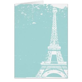 El boda azul de la torre Eiffel le agradece las Tarjeta Pequeña