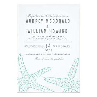 El boda azul de las estrellas de mar invita - al invitación 12,7 x 17,8 cm