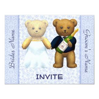 El boda azul de los osos de peluche invita a invitación 10,8 x 13,9 cm