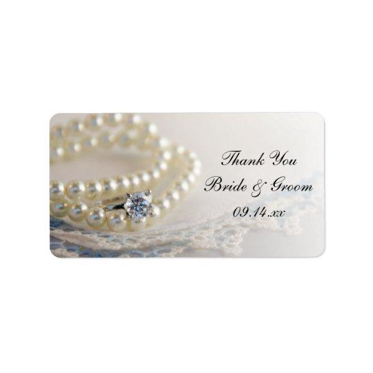 El boda azul del cordón del anillo de las perlas etiquetas de dirección