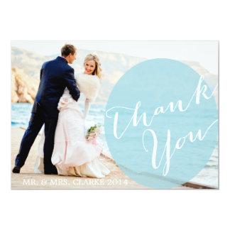 El boda azul elegante de la foto le agradece invitación 12,7 x 17,8 cm
