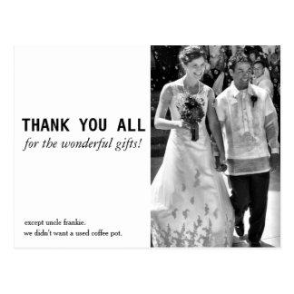 El boda barato y divertido le agradece cardar postal