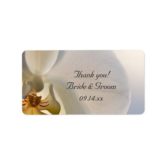 El boda blanco de la elegancia de la orquídea le etiquetas de dirección