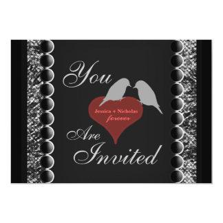 El boda blanco del negro de los corazones de los invitación 12,7 x 17,8 cm