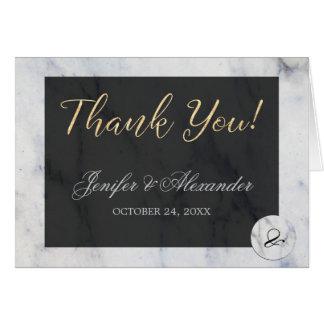 El boda blanco elegante del mármol del negro azul tarjeta pequeña