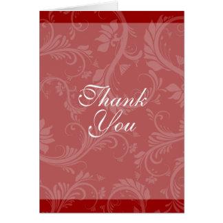 """El boda blanco negro """"le agradece"""" floral tarjeta pequeña"""