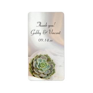 El boda blanco suculento verde le agradece etiqueta de dirección