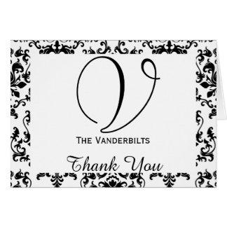 El boda blanco y negro del damasco le agradece tarjeta pequeña