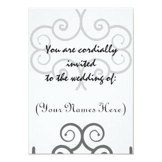 El boda blanco y negro del diseño invita invitación 12,7 x 17,8 cm