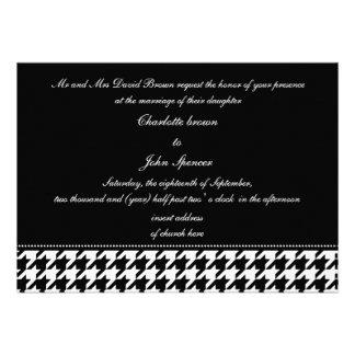 el boda blanco y negro del houndstooth invita invitación