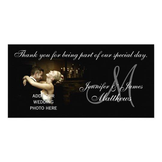 El boda blanco y negro le agradece tarjeta del mon tarjeta fotografica personalizada