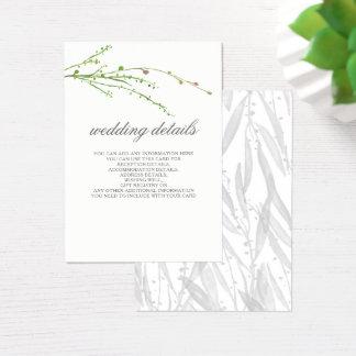 El boda botánico del verdor detalla tarjetas del