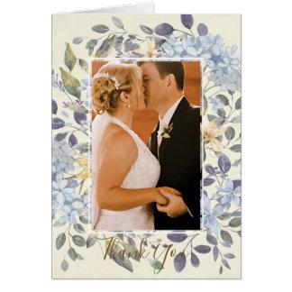 el boda botánico floral azul le agradece tarjeta