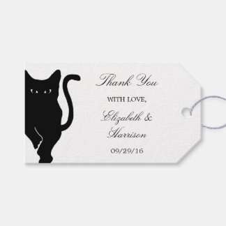El boda caprichoso moderno del gato negro le etiquetas para regalos