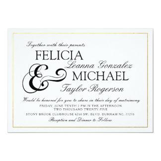 El boda clásico blanco elegante del estilo del invitación 12,7 x 17,8 cm