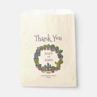 El boda colorido del cactus le agradece bolsa de papel