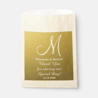 El boda con clase del brillo del oro le agradece bolsa de papel