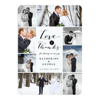 El boda con clase moderno del collage de la foto invitación 12,7 x 17,8 cm