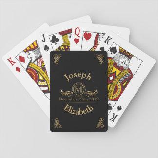 El boda con monograma favorece a | el oro negro barajas de cartas