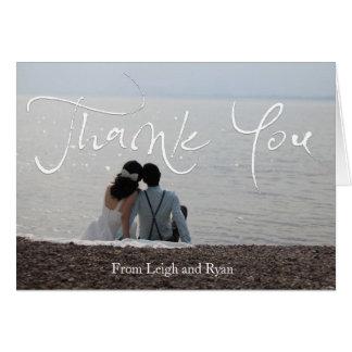 El boda con playas le agradece las tarjetas