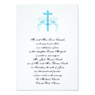 El boda cristiano de la cruz de la turquesa de invitación 12,7 x 17,8 cm