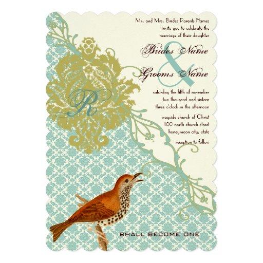 El boda cristiano del damasco de los pájaros del v invitaciones personalizada
