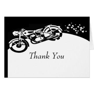 El boda de encargo de la motocicleta blanca negra tarjeta de felicitación